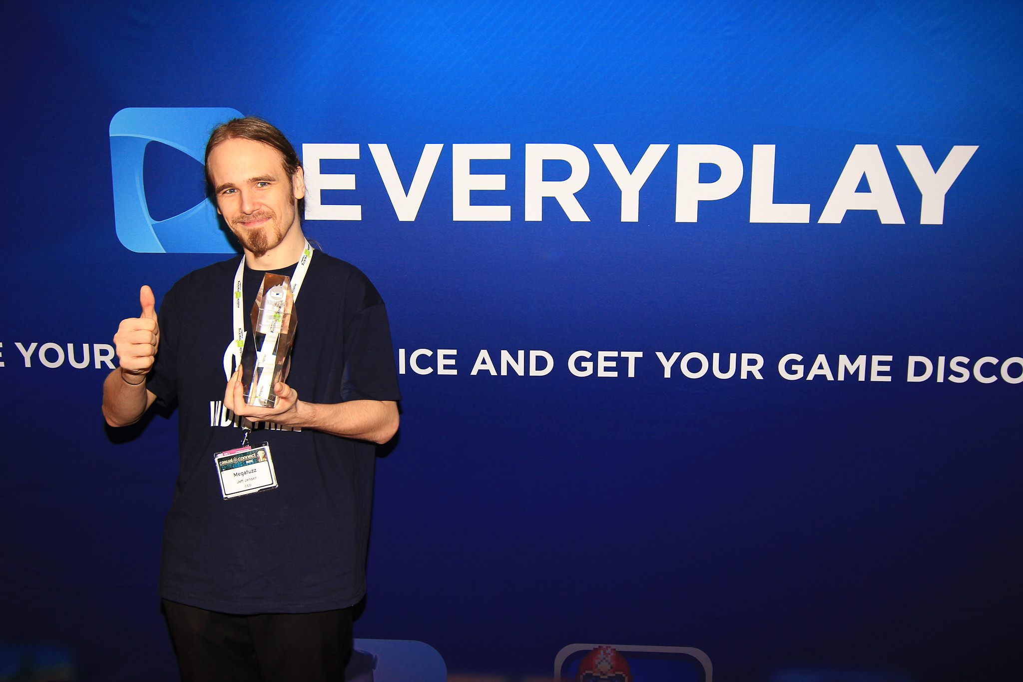 Jeff Jensen with award, Casual Connect 2014